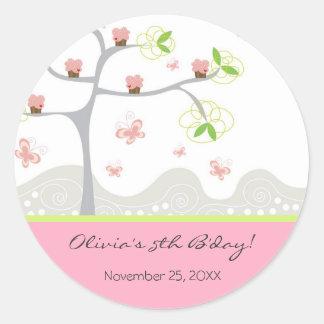 Sticker Rond Anniversaire lunatique de bonbon à papillons