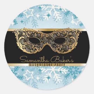 Sticker Rond Anniversaire noir de partie de mascarade d'hiver