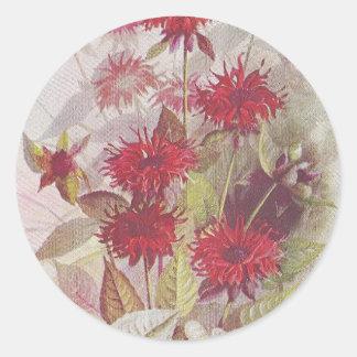 Sticker Rond Antiquité ronde florale rouge de l'autocollant |