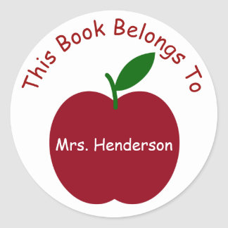 Sticker Rond Apple du professeur a personnalisé l'ex-libris