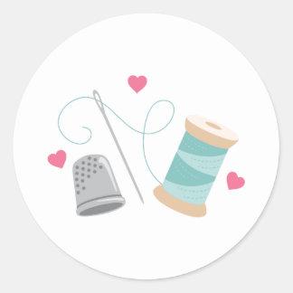 Sticker Rond Approvisionnements de couture de coeur