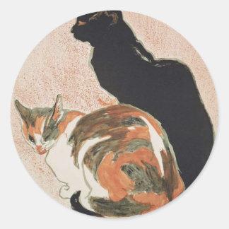 Sticker Rond Aquarelle - 2 chats - Théophile Alexandre Steinlen