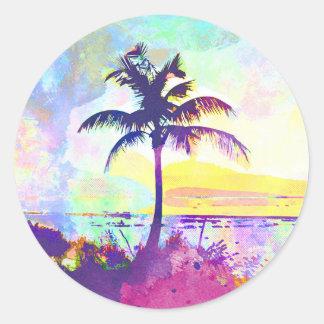 Sticker Rond Aquarelle abstraite - coucher du soleil I de plage