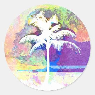 Sticker Rond Aquarelle abstraite - coucher du soleil II de