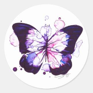 Sticker Rond Aquarelle de minuit de papillon