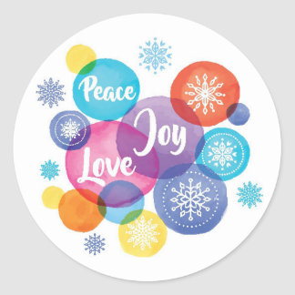 Sticker Rond Aquarelle de Noël | - citation de joie d'amour de