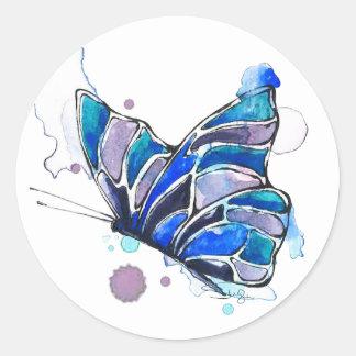 Sticker Rond Aquarelle de papillon de coucher du soleil