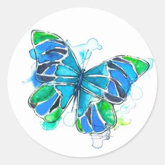 Sticker Rond Aquarelle de papillon d'océan