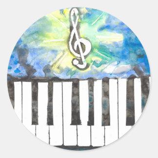 Sticker Rond Aquarelle de piano