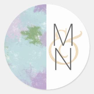 Sticker Rond Aquarelle + joint de faveur de monogramme de