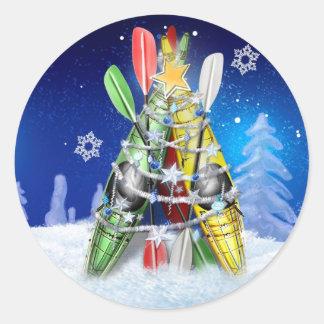 Sticker Rond Arbre de Noël de kayak