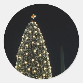 Sticker Rond Arbre de Noël et monument de Washington nationaux