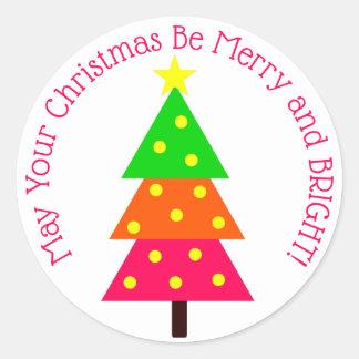 Sticker Rond Arbre de Noël lumineux rond