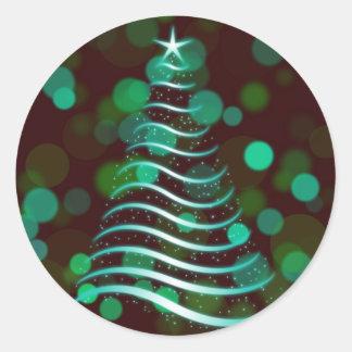 Sticker Rond Arbre de Noël turquoise de ruban en vacances Bokeh