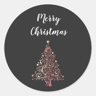 Sticker Rond arbre moderne élégant d'or de rose de Joyeux Noël