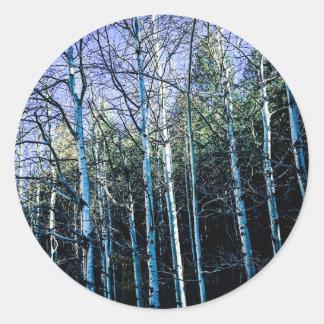 Sticker Rond Arbres d'Aspen en automne