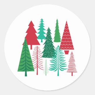Sticker Rond arbres de Noël contemporains modernes