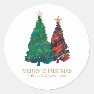 Sticker Rond Arbres de Noël scintillants peints à la main