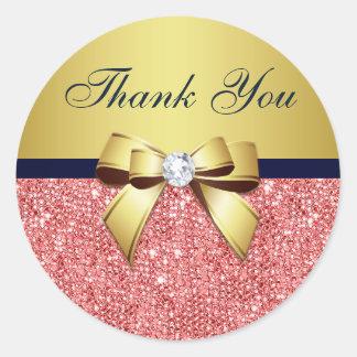 Sticker Rond Arc de corail de diamants de marine d'or de