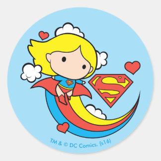 Sticker Rond Arc-en-ciel de vol de Chibi Supergirl