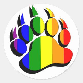 Sticker Rond Arc-en-ciel gai de griffe d'ours avec l'ombre