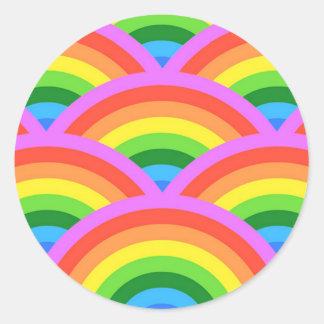 Sticker Rond Arc-en-ciel heureux