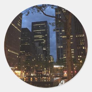 Sticker Rond Architecture centrale New York de l'aube NYC de