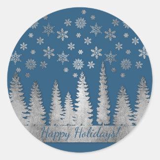 Sticker Rond Argent de vacances et le pays des merveilles bleu