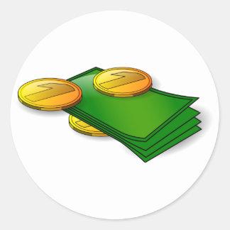 Sticker Rond Argent et pièces de monnaie