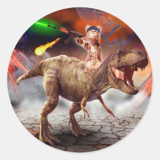 Sticker Rond Armageddon de chat - chat de dinosaure - mauvais