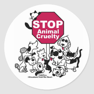 Sticker Rond Arrêtez la cruauté animale