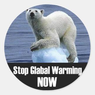 Sticker Rond Arrêtez le réchauffement climatique maintenant