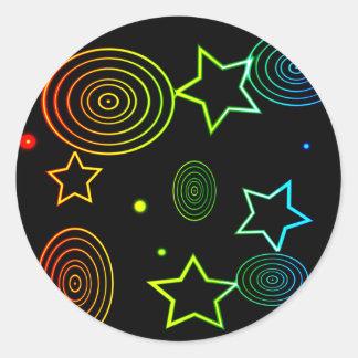 Sticker Rond Arrière - plan d'étoiles