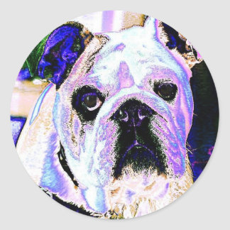 Sticker Rond Art de bruit anglais de bouledogue