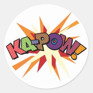 Sticker Rond Art de bruit de bande dessinée KA-POW !