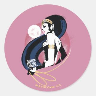 Sticker Rond Art de bruit de profil de femme de merveille de la