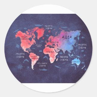 Sticker Rond art de carte du monde