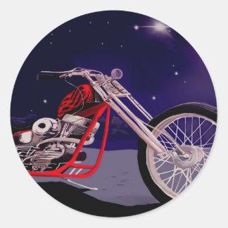 Sticker Rond Art de clair de lune de moto