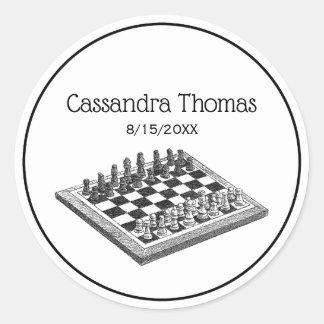 Sticker Rond Art de cru d'échiquier et de pièces d'échecs