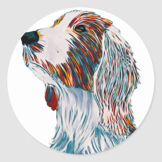 Sticker Rond Art de springer spaniel de Gallois