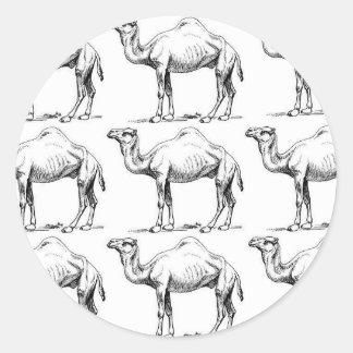 Sticker Rond Art de troupeau de chameau
