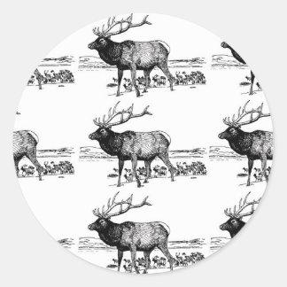 Sticker Rond art de troupeau d'élans ouais