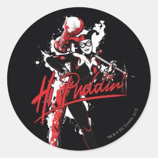 "Sticker Rond Art d'encre de Puddin'"" de Batman   Harley Quinn"
