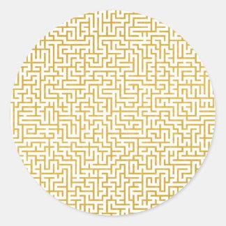 Sticker Rond Art moderne de labyrinthe élégant - or et blanc