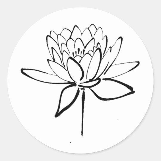 Sticker Rond Art Noir Et Blanc De Dessin Dencre De Fleur De