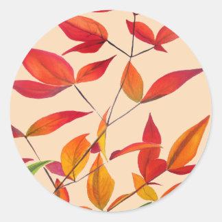 Sticker Rond Art pour aquarelle original orange de feuille
