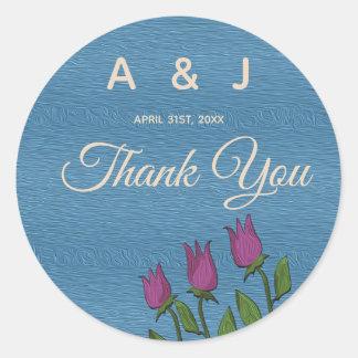 Sticker Rond Art rustique bleu floral de peinture à l'huile de