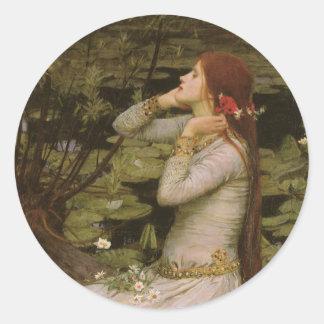 Sticker Rond Art victorien, Ophélie par l'étang par le château
