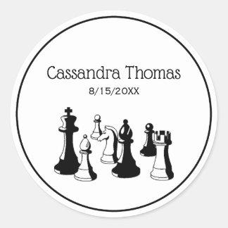 Sticker Rond Art vintage #2 de pièces d'échecs