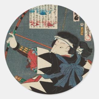 Sticker Rond Art vintage classique d'Ukiyo-e Kyudo Archer